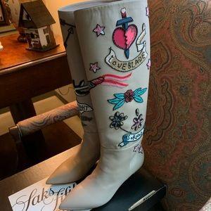 Valentino Twisteel Tall Beaded Leather Boots